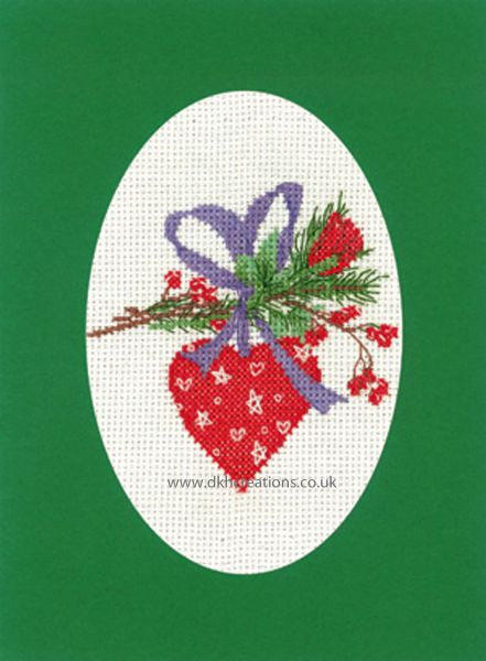 Sue Hill Christmas Heart Bauble Greeting Card Green Cross Stitch Kit